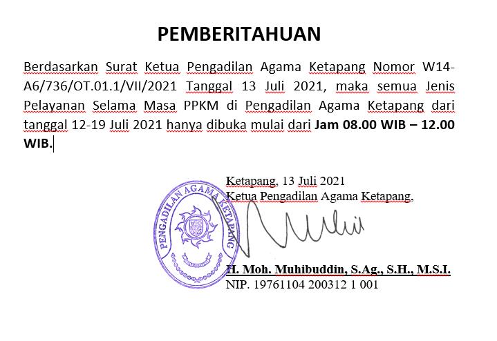PENGUMUMAN JADWAL PELAYANAN SELAMA PPKM 12 JULI S.D. 19 JULI 2021